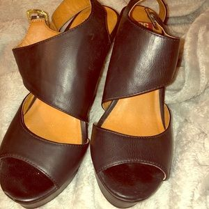 BC footwear Black Wedges